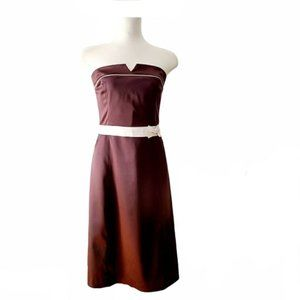 Vintage RW&CO. Brown Midi Strapless Cocktail Dress